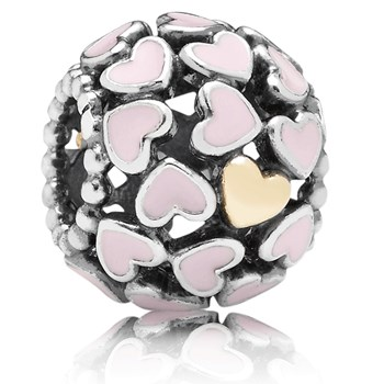 PANDORA Abundance of Love with 14K and Pink Enamel Openwork Charm 346981