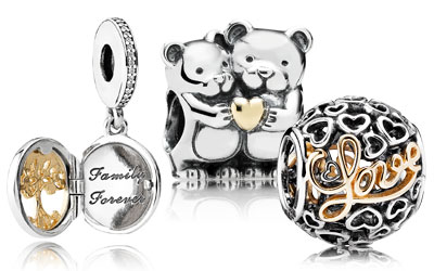 PANDORA Sterling Silver & 14KT Gold Two Tone Charms