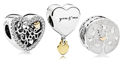 PANDORA Sterling Silver and 14KT Gold Charms