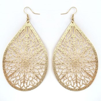 333550-Gold Textured Teardrop Earrings