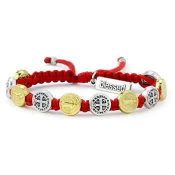 My Saint My Hero Red Silver & Gold Blessing Bracelet