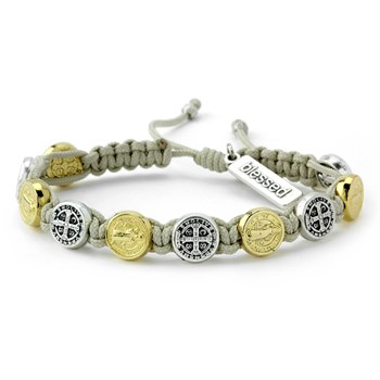 My Saint My Hero Cream Silver & Gold Blessing Bracelet