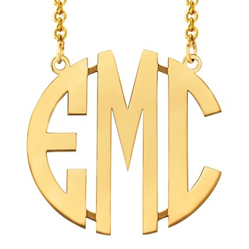 Monogram Modern Cut Out Gold Necklace