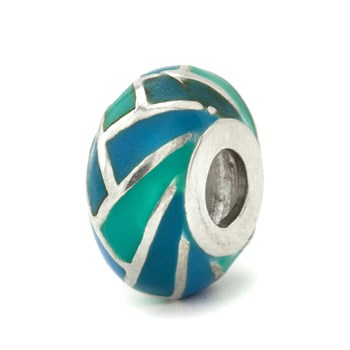 Blue & Teal Herringbone Bead