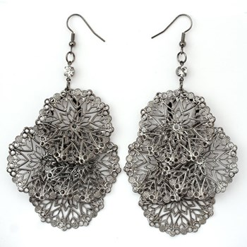 333565-Hematite Filigree Cluster Earrings