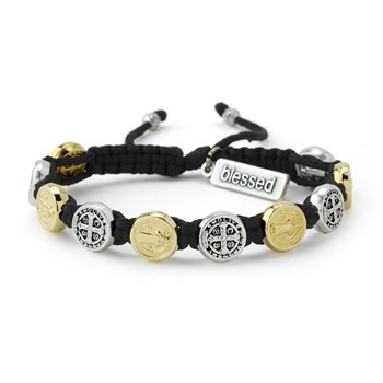 My Saint My Hero Black Silver & Gold Blessing Bracelet