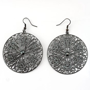 333528-Hematite Filigree Disk Earrings