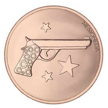 Mi Moneda Aim High & Pistol Rose Gold-Plated Disc ONLY 2 LEFT!