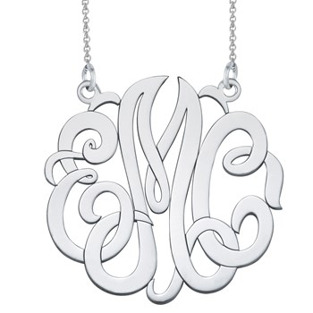 Monogram Decorative Cut Out Silver Necklace