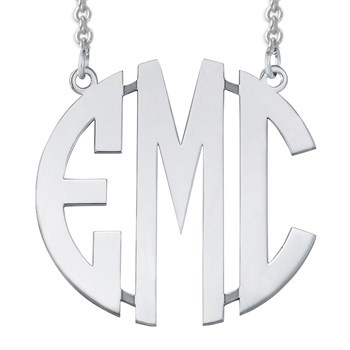 Monogram Modern Cut Out Silver Necklace