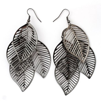 333526-Hematite Cascading Leaf Earrings