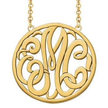 Monogram Decorative Round Cut Out Gold Necklace