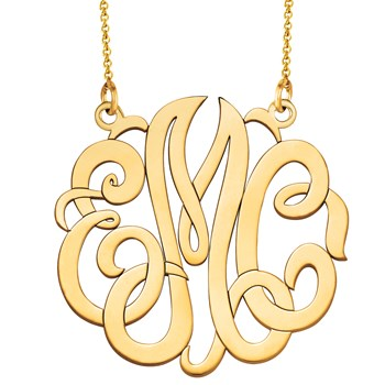 Monogram Decorative Cut Out Gold Necklace