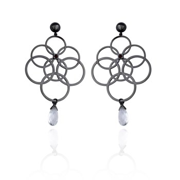 346657-ELLE Gunmetal Colored Sterling Silver Earrings ONLY 2 PAIRS LEFT!