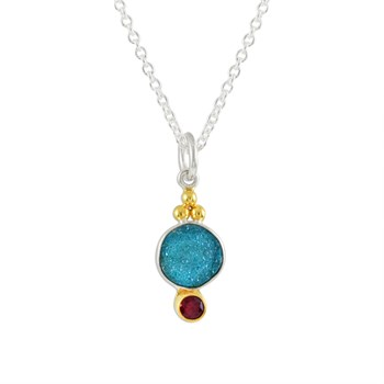 Roulette 18 Blue Druzy & Ruby Necklace
