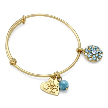 655-02934-Mariana Blue Iridescent Pendant Angel Bangle Bracelet