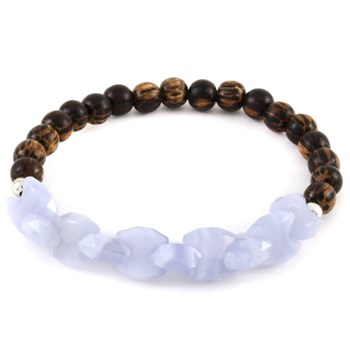 Stone Salutations Blue Lace Agate & Palm Wood Bracelet