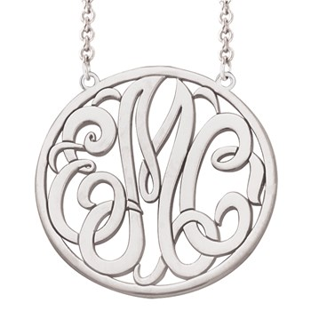 Monogram Decorative Round Cut Out Silver Necklace