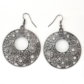 333944-Textured Round Antiqued Silver Earrings