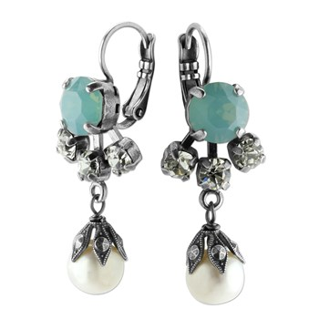 655-02898-Mariana Green Opalescent & Pearl Earrings