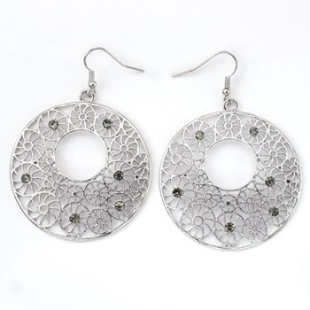 333943-Textured Round Silver Earrings