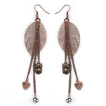 333525-Antiqued Copper Leaf & Owl Earrings