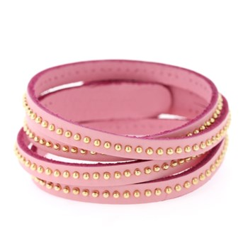 Gold Studded Pink Leather Wrap Bracelet