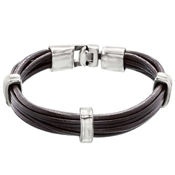 Uno de 50 1,2,3 UP Brown Leather Bracelet