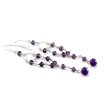 "210-651-Elisa Ilana ""Highborn"" Amethyst Earrings"