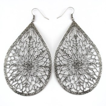 333551-Silver Textured Teardrop Earrings