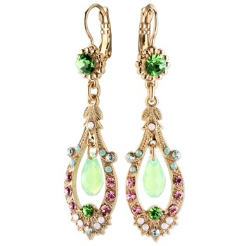 655-02908-Mariana Green, Pink & Blue Elegant Earrings