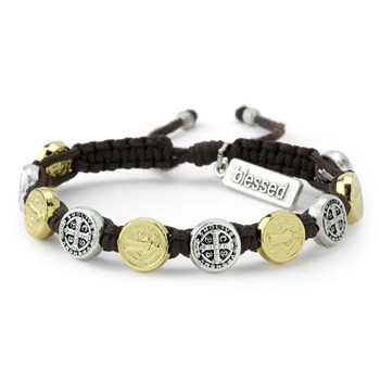 My Saint My Hero Brown Silver & Gold Blessing Bracelet
