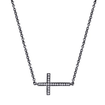 342518-Black Rhodium Plated Cross Necklace