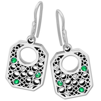 Belle Brooke Diamond & Green Tsavorite Earrings