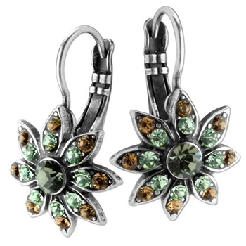 655-02677-Mariana Green & Brown Floral Earrings