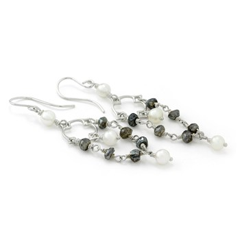 "210-656-Elisa Ilana ""Highborn"" Pearl & Labradorite Earrings"