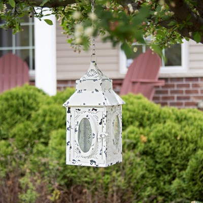 metal lace led outdoor lantern white - Country Outdoor Decor