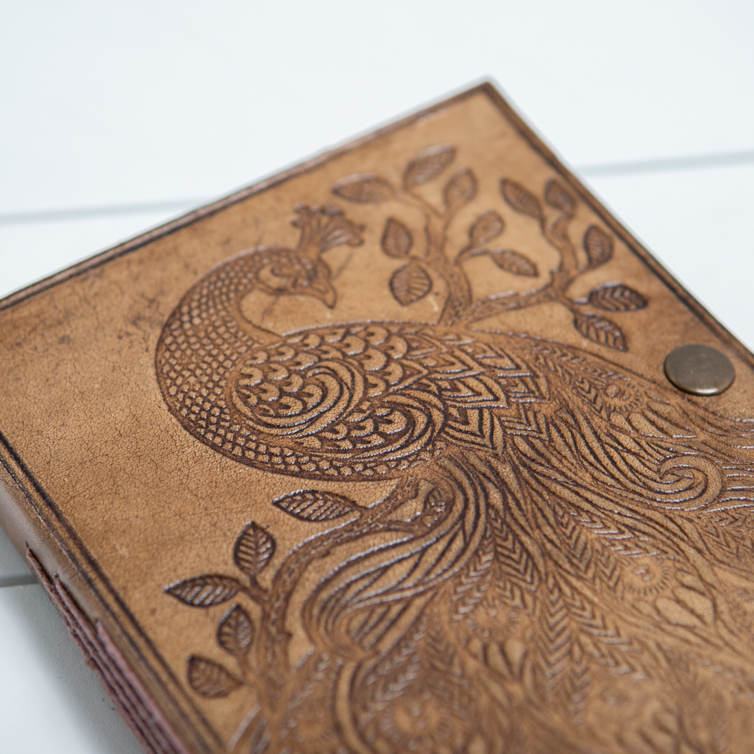 Debossed Peacock Leather Journal