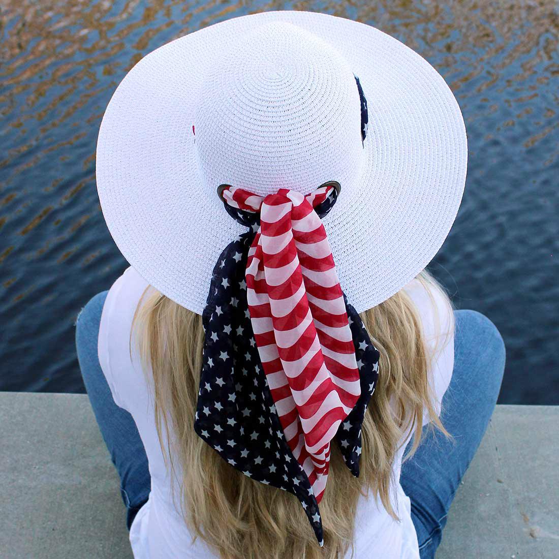 American Flag Scarf Sun Hat