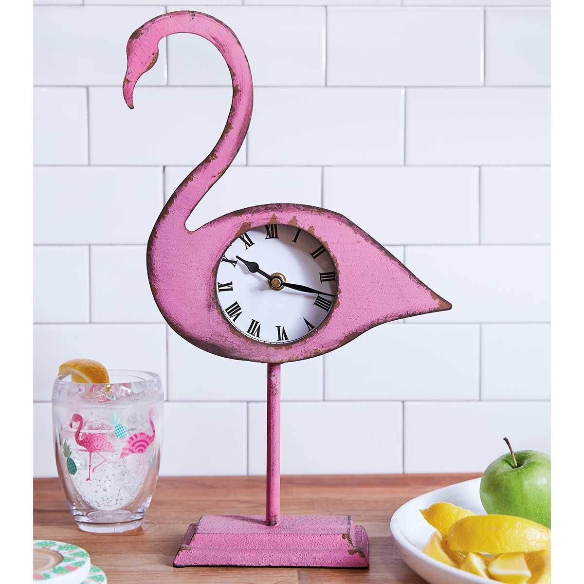 Metal Flamingo Table Clock