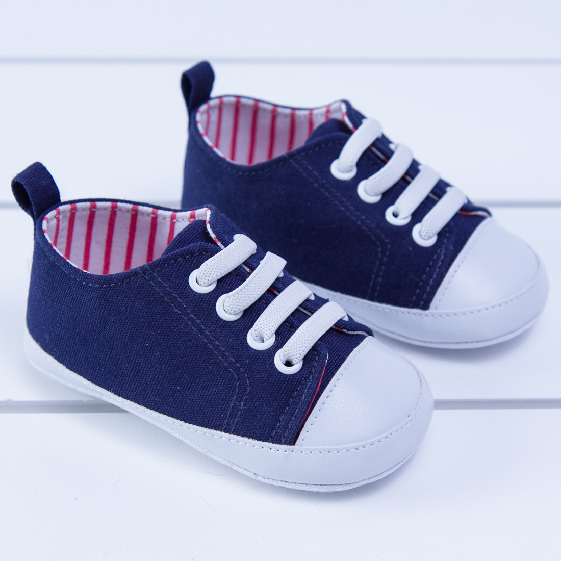 Infant Navy and Red Stripe Sneakers