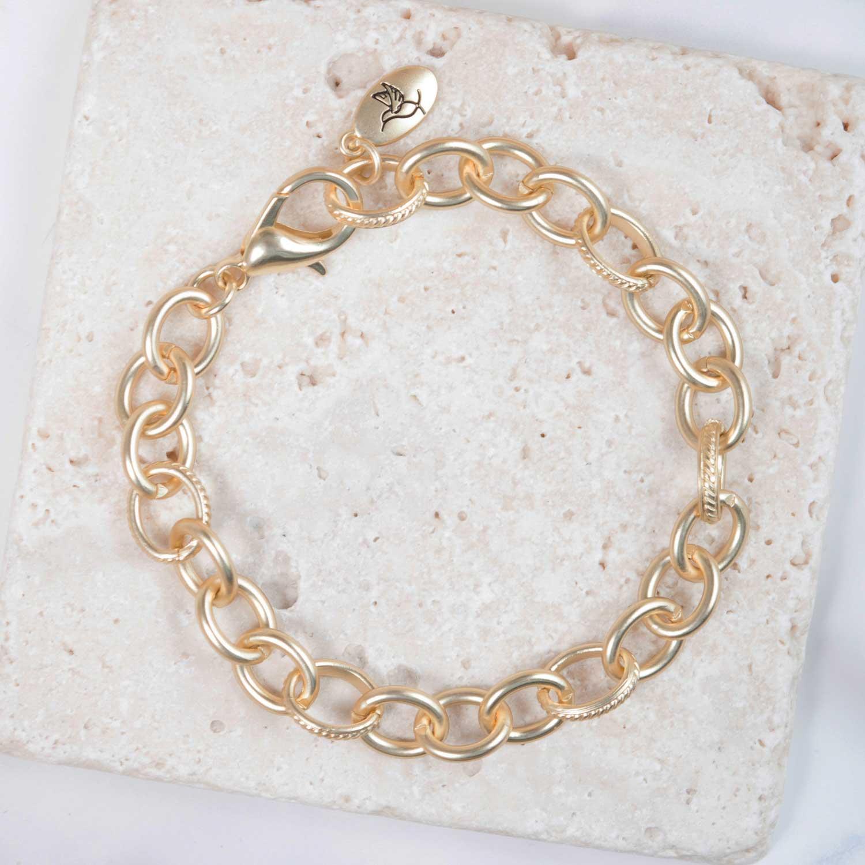 Matte Gold Chain Charm Bracelet