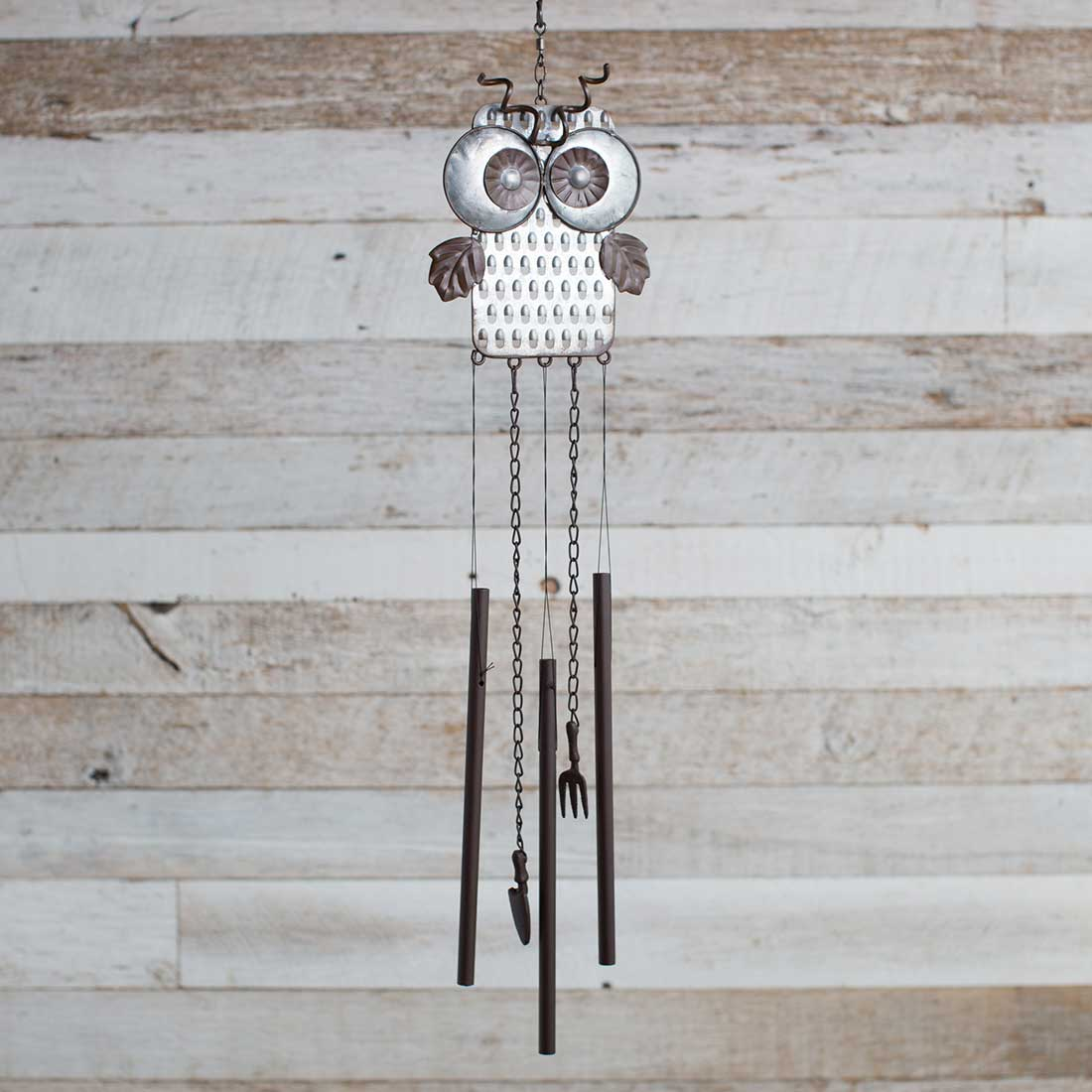 Metal Grater Owl Wind Chime