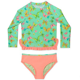 Hula Star Girl's Dreamy Butterfly Rashguard Set