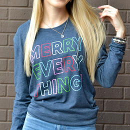Jadelynn Brooke Women's Merry Everything Long Sleeve Crew Neck T-Shirt