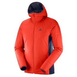 Salomon Men's Drifter Mid Hoodie Jacket, Fiery Red/Night Sky