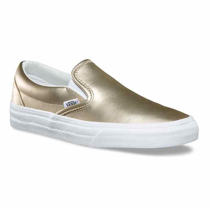 6dab6e8219 Vans Women s Muted Metallic Classic Slip-On Gold Shoes - Sun   Ski ...
