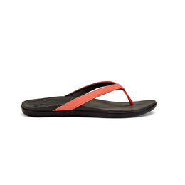 OluKai Women's Ho Opio Casual Sandals Coral/Dark Shadow
