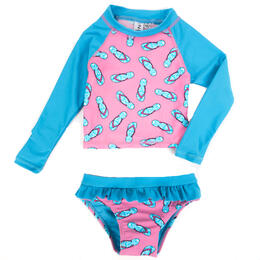 InGear Fashions Girl's Rash Skirted Toddler Swimsuit Set