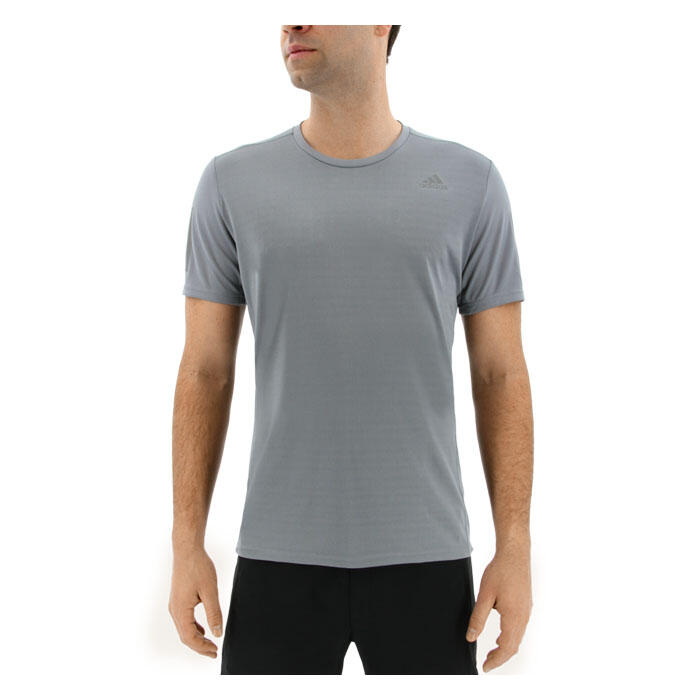 Adidas Men's Response Short Sleeve Running Shirt Front Grey